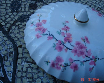 Antique W. S. George China Co.Porcelain  Cherry/Peach Blossom Bowl/turreen Top - Lovely