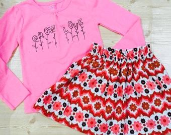 Grow Love Handmade Vintage Fabric MOD Set Skirt Shirt 5T Girls