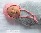 Baby bonnet, summer hat, double gauze hat with ties, baby gift, baby girl hat, baby girl bonnet, lightweight hat, sun bonnet, pink hat