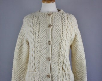 70s Aran Knit Sweater, Women's Cream Irish Wool Fisherman's Style Fall Winter Cardigan Sweater, FREE SHIPPING