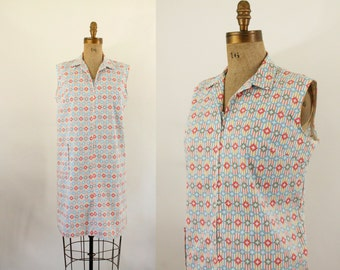 mod scooter dress - 60s dress- zip front cotton shift dress - plus size 60s dress - xlarge xxlarge