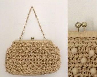 Vintage 1960s Beaded Raffia Macrame Chain Strap Handbag