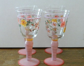 Vintage Hand Painted Water Wine Glasses - Hand Blown Glass