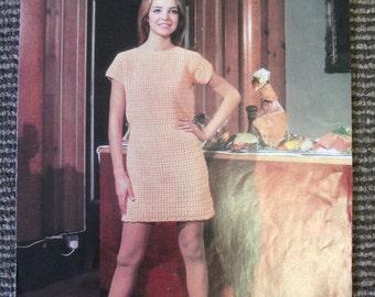 Vintage 1960's Crochet Pattern Shift Dress