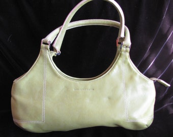 Vintage 80s Benetton Purse - Pale Green Leather Shoulder Purse