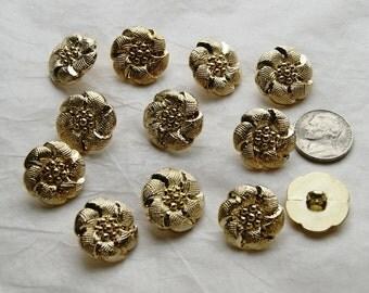 12 Gold Buttons, Flower Shank Back Buttons, Gold Shank Buttons, Sewing, Craft (AK 42)