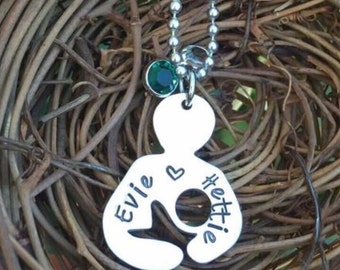 Personalized Hand Stamped Breastfeeding/Nursing Mama necklace