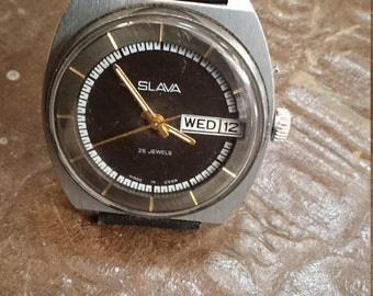 25% OFF ON SALE Vintage watch Slava, mens watch, huge watch, men's watches
