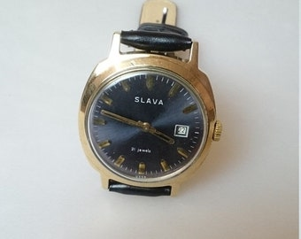 25 OFF SALE Vintage watch Slava, mens watch, huge watch, gold watch