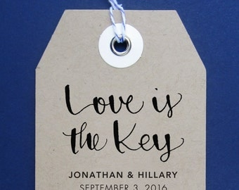Love is the Key Wedding Stamp, Handwritten Calligraphy - Personalized Stamp for Thank you notes, wedding favors, gift tags - Version X