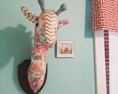 Custom-Made, Wall-Mounted Stuffed Giraffe Head, Faux Taxidermy