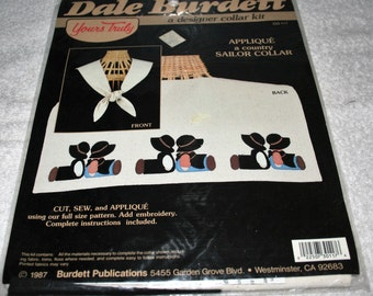 Dale Burdett Designer Collar Kit (cut and sew pattern) Applique (a country sailor collar)
