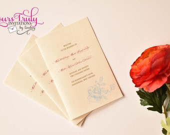 Simple Shimmer Booklet Wedding or Reception Program with roses customized in your colors