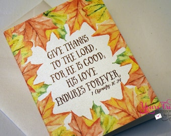 Thanksgiving Fall Leaves Give Thanks Bible Verse Note card Greeting card