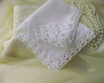 Lace Corner Handkerchief, Hanky, Hand Crochet, White, Bridal, Lacy, Personalized, Embroidered, Monogrammed, Bridal Party Gift, Ready to ship