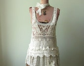 Romantic Shabby Crochet Tank Top Tunic, Upcycled Repurposed Clothing, Mori Girl Tops, Festival Gypsy Lace Tops, Boho Country Chic Shirts