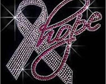 Breast Cancer Awareness Rhinestone T-Shirt Sizes XS-4XL - Hope Ribbon