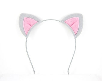 Grey Cat Headband Felt Cat Ears Costume Headband