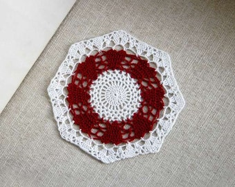 Red Hearts Crochet Lace Doily, Table Accessory, Modern Home Decor, New, Romantic