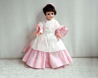 Vintage Marcie Doll, 1950s, Sleep Eyes, Pink Gingham Dress, Lace Undergarments, Crochet Beret