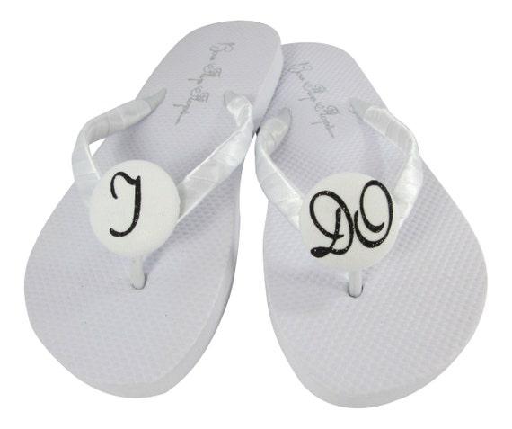 I Do Bridal Flip Flops, White Flats with Black Glitter or any colors/ Wedding Flip Flops/ wedge platforms heel/Bride Gift /Sandals Shoes