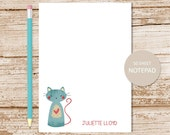 personalized cat notepad . patchwork cat note pad . kitty cat notepad . personalized stationery . cat stationary