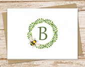 personalized bee note cards . bee wreath notecards set . initial, monogram . folded cards . stationery stationary.  teacher . set of 8
