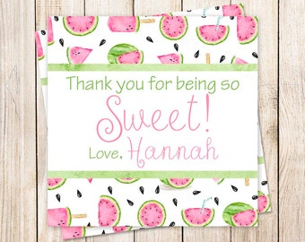 personalized watemelon favor tags . PRINTABLE watermelon stickers . birthday . thank you tags . summer fruit gift tags . YOU PRINT