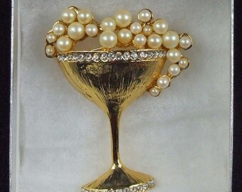 Fabulous Vintage Bubbles Pearls Pearl Rhinestone Pave Champagne Glass Brooch Art Deco ATCTTEAM TNTEAM