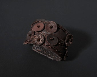 Brown Leather  Cuff Bracelet Vintage Fabric