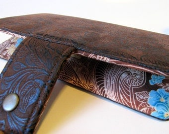 Handmade wallet brown faux tooled leather - floral #6  - brown paisley with blue and gold floral - women clutch brown - Custom order -