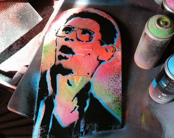 Bill Haverchuck Freaks and Geeks upcycled skateboard deck painting street art spray paint original stencil