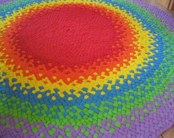 New Ready To ship Colorful Rainbow Hand Braided Round Recycled Rug / Rag Rug / Carpet for Nursery / Baby's Room / Playroom / Kid's room