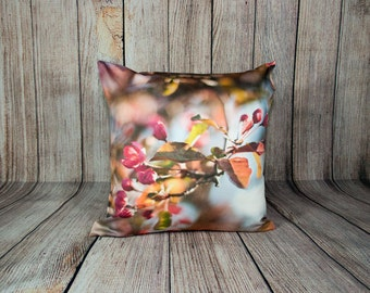Spring Floral Pillow Cover, Victorian Sofa Home Decor, Pink Decorative Chair Cushion Case, Handmade, Couch Accent, Botanical Art Decor