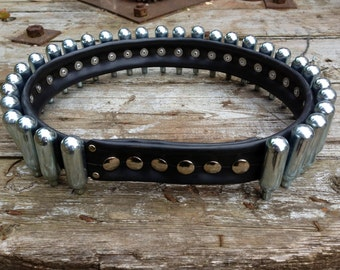 Bullet Belt, Recycled Noz Canisters, Bike Inner Tube Rubber Belt, Adjustable, Unisex, All sizes, Small or Large, Unique Custom Stud Belt