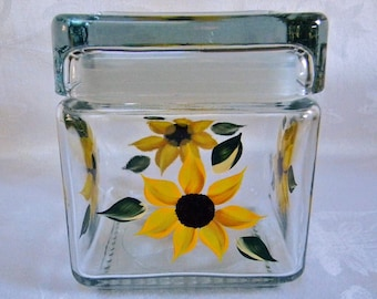 Glass Jar,painted glass jar, painted container, kitchen storage jar,painted sunflowers