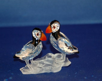 "Swarovski Silver Crystal ""Puffins on Ice"" from the ""Feather Beauties"" Collection ~ #261643 ~ Original Box & COA ~ Martin Zendron ~ Excellent"
