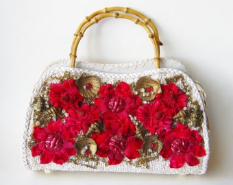 Vintage 50s White Raffia Red Flowers & Gold Seashells Bamboo Handle Purse Handbag