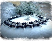 Spiky Goth Black SILVER ANKLE bracelet beaded anklet Rockstar Boho jewelry Silver Belly Dance Gothic foot jewelry Music Festival GPyoga