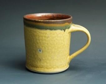 Handmade pottery coffee mug tea cup 14 oz, cream yellow tea cup 3328
