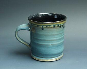 Handmade white stoneware coffee mug teacup glossy medium blue 14 oz 3381