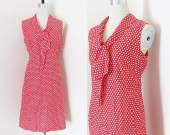 Vintage Red and White Polka Dot Casual Shift Dress / 1960's Dotted Sleeveless Cotton Straight Style Day Dress Size Large Ascot Tie