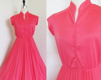 "50% OFF SALE Vintage 1970's Pink Day Dress / Bright & Light Summer Pleated Skirt 60's 70's Sundress Size Small / ""Valentines Sweetheart"""
