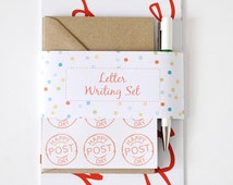 Letter Writing Set – Wordy – Letter Set – Correspondence Kit – Hand Lettered – Writing Paper – Eco-Friendly Letter Set with Pen