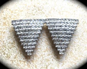 Vintage Pair of Rhinestone Dress Clips- Vintage Brooch Pair- Wedding Clips- Pair of Brooches -Vintage Dress clips- Rhinestone Jewelry