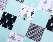 "64 - 5"" Charm Pack Cotton Fabric Squares Mint & Black Pre-Cut Baby Boy Quilt Top Southwestern Tepee Aztec Nursery NEW!"