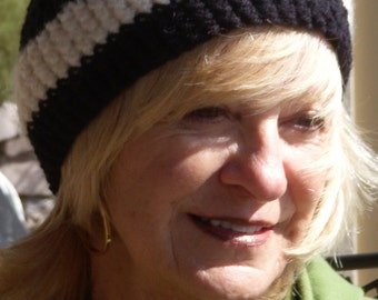 women's hat women's crochet skullcap black white winter accessory
