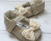Neutral toddler girls shoe vintage inspired baby shoes with bows embellished shoes crochet lace bow - Evelyn