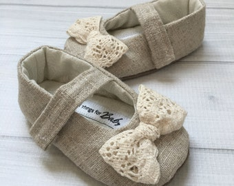Vintage Inspired Girls Shoes // baby shoes with bows embellished shoes neutral colored girls Velcro strap crochet lace bow - Evelyn