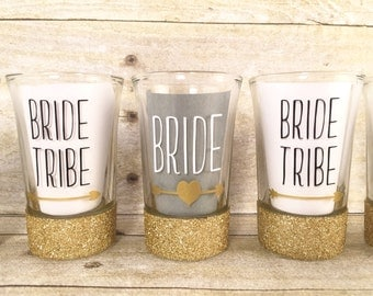 Shot Glasses - Shot Glass Set - Bachelorette Party Gifts - Bridesmaid Gifts - Bride Tribe Glasses - Bride Tribe Gifts - Glitter Dipped Glass